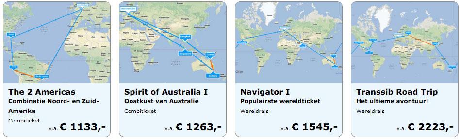 Goedkope wereldreistickets of rond de wereldtickets € 1499 p.p.
