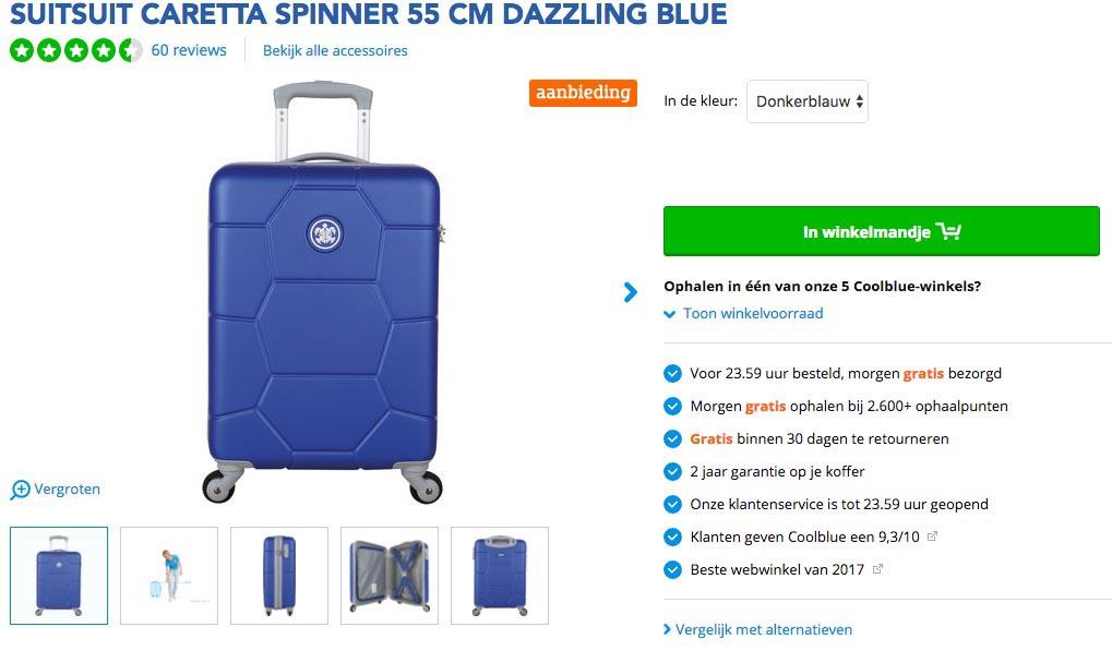 maten koffer handbagage klm