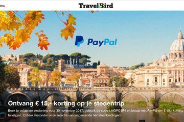 Kortingscode en actiecode TravelBird Paypal1
