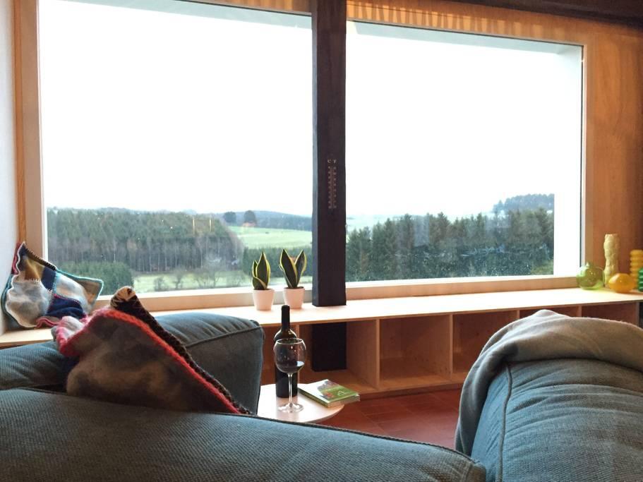 Overnachten huisje met houtkachel en uitzicht Ardennen8